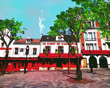 Watercolor Paris, Monmartre, Place Du Teatre