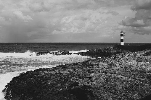 Coast, Lighthouse, Black, Sky, Sea