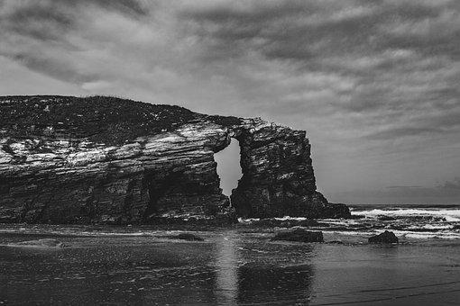 Cliff, Rock, Beach, Black, White