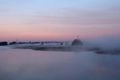 Sunrise, River, Rhine, Netherlands, Fog