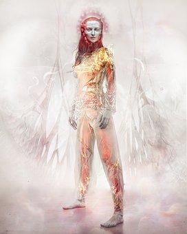 Angel, Super Heroine, Gold, Statue, Religion, Golden