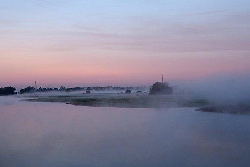 Sunrise, River, Rhine, Netherlands, Fog, Scenic, Nature