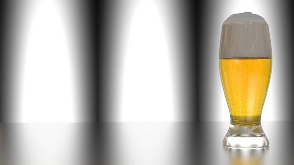 Beer, Glass, Refreshment, 3d, Blender