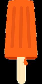 Icecream, Vector, Sweet, Cold, Orange Vector