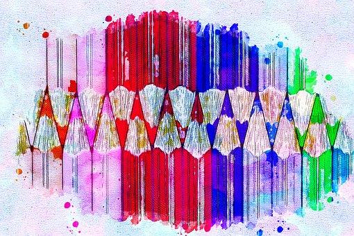 Pencils, Color, Art, Abstract