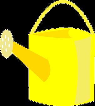 Watering Can, Yellow, Ewer, Gardening, Watering, Can