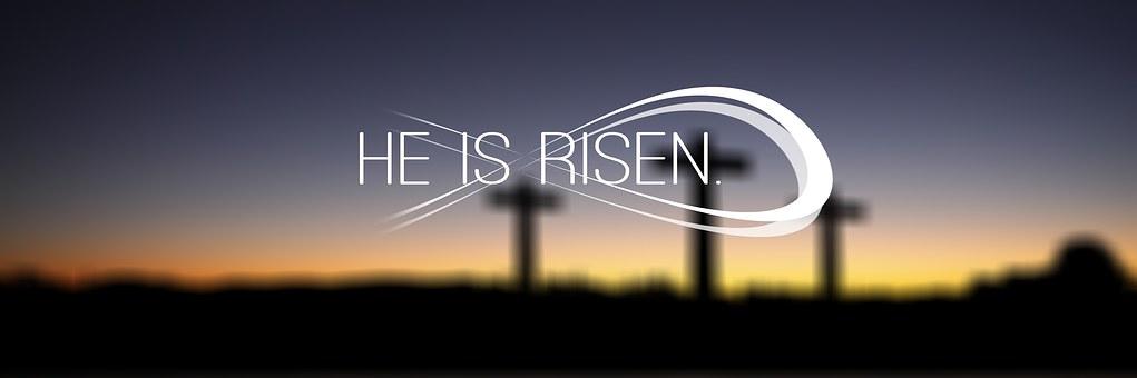 Banner, Header, Easter, Cross, Sunset