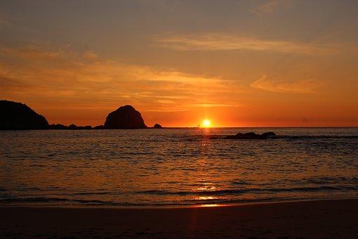 Sunset, Orange, Beach, Chilean Coast, Chile, Horizon