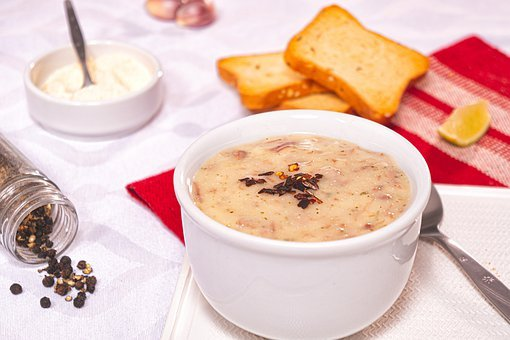 Soup, Cream, Manioc, Dried Beef, Beef Jerky, Toast