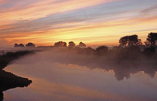 Landscape, Sunrise, Fog, Ochtendstemming, River
