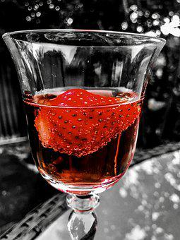 Glass, Wine, Strawberry, Alcohol