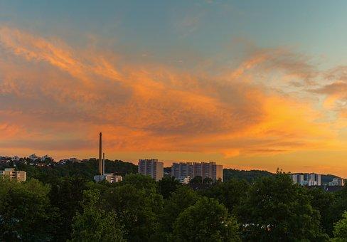 Sunset, City, Building, Sky, Clouds
