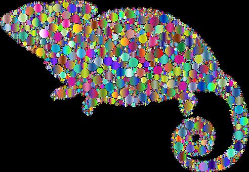 Chameleon, Animal, Circles, Dots, Lizard