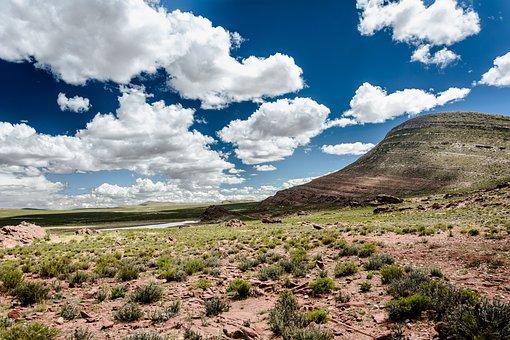 Desert, Mountain, Field, Landscape