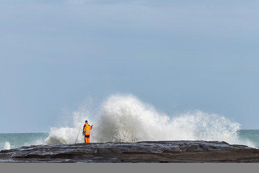 Fishing, Rocks, Water, Crashing, Rod, Activity, Outdoor