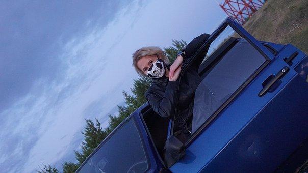 Girl, Mask, Blonde, Door, Machine, Car