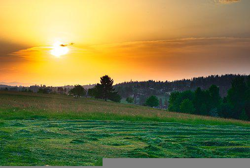 Landscape, The Sun, Yellow, Orange, Sky, Hay