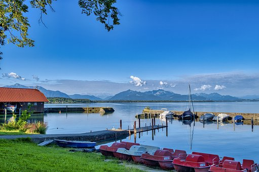 Landscape, Upper Bavaria, Chiemsee, Lake, Mountains