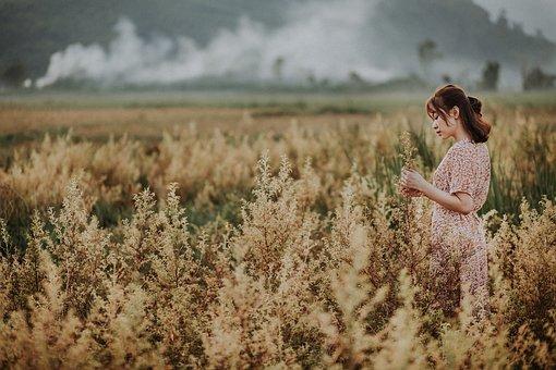 Mountains, Smoke, Portrait, Girl, Reflection