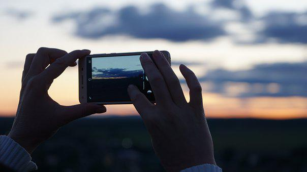 Hands, Photo, Photograph, Phone, Sunset, Clouds