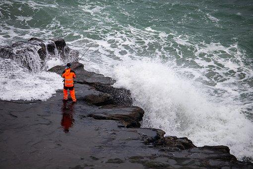 Fishing, Rocks, Water, Crashing, Rod