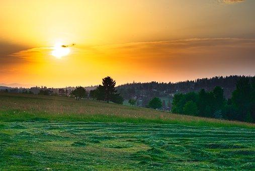 Landscape, The Sun, Yellow, Orange, Sky