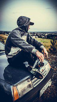 Guy, Auto, Bottle, Nature, Machine, Car, Posture, Sit