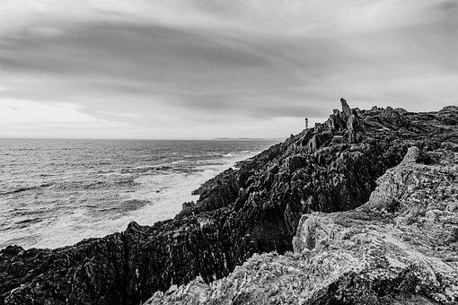Lighthouse, Black, White, Coast, Night, Landscape
