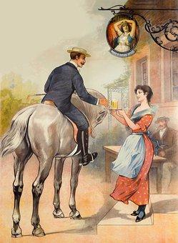 Couple, Horseback, Hero, Gentleman, Woman, Beer, Drink