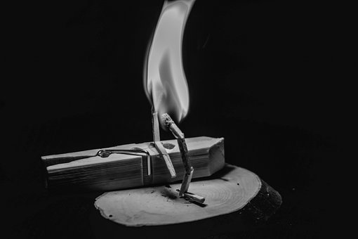 Black White, Dark, Black, Fire, Wood, Matches
