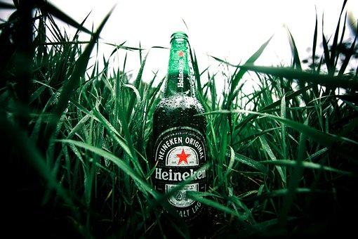 Beer, Bottle, Green, Grass, Water Droplets, Heineken