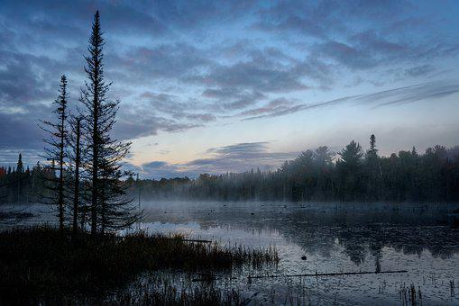Northern, Ontario, Lake, Morning, Mist