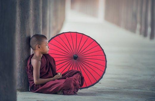 พระ, Umbrella, Eat, Asia, Burma, Faith, Boy, Buddha