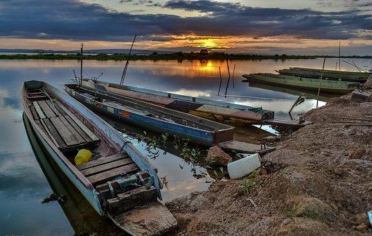 River, Ship, Bright, Thailand, Sky, Flush, Mountains