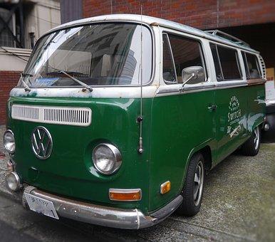Car, Volkswagen, Germany Car, Antique, Green, Aoyama