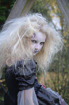 Girl, Blond, Mane, Close, Hair, Costume, Portrait