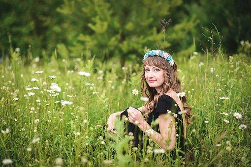 Girl, Field, Chamomile, Summer, Girl In Dress