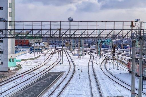 Station, Snow, Railway, Rail, Rails, The Way, Motion