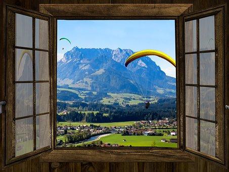Window, Outlook, Mountains, Kaiser Mountains