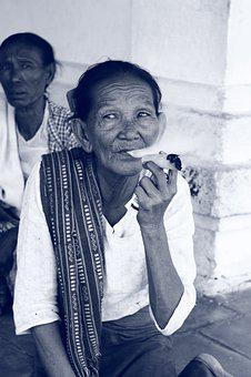 Burma, Cigar, Myanmar, Woman, Human, Portrait, Old