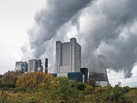 Power Plant, Coal Fired Power Plant, Clouds