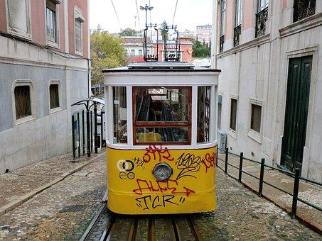 Transport, Tram, Lisbon, Public Transport, Tram Tracks