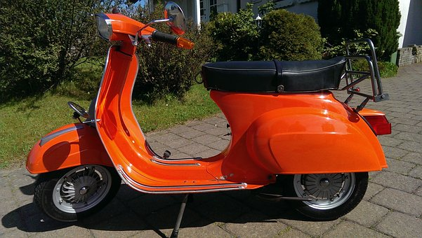 Vespa, 50n, Roller, Orange, Retro Car, Moped