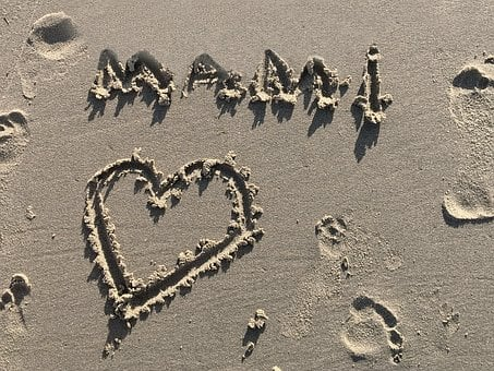 Sand, Beach, Tracks In The Sand, Font, Heart