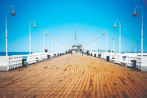 Boardwalk, Pier, Sea, Coast, Ocean, Blue, Vacation