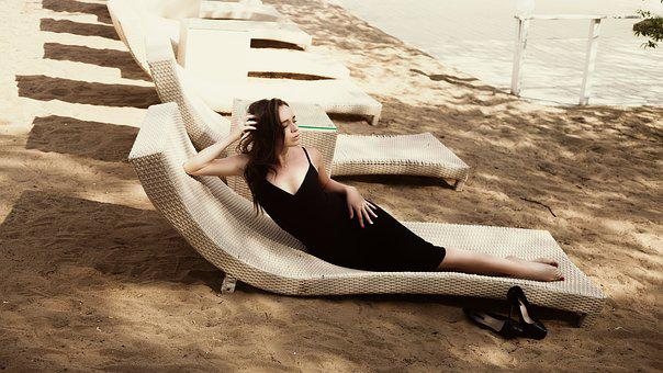 Beach, Black Dress, Fashion, Girl, Model, Sexy, Beauty