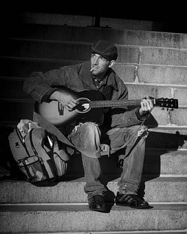 People, Homeless, Musician, Street Musician, Sitting