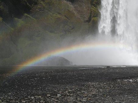 Skogafoss, Waterfall, South Iceland, Rainbow