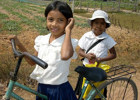 Transport, Bicycle, Girls, Cambodia, Tough
