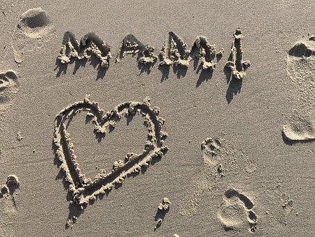 Sand, Beach, Tracks In The Sand, Font, Heart